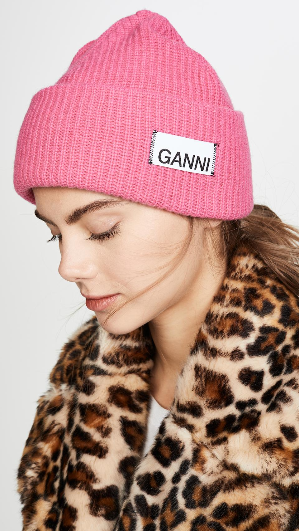 """Always say yes to a pop of color in the form of a cold-weather accessory. """"Heavyweight rib knits in bright and bold colors, like this Ganni style in pink, update the seasonal classic for a must have addition to every winter wardrobe,"""" says Davignon. (Photo: Shopbop) <a href=""""https://fave.co/2Opx1EV"""" rel=""""nofollow noopener"""" target=""""_blank"""" data-ylk=""""slk:SHOP IT:"""" class=""""link rapid-noclick-resp""""><strong>SHOP IT: </strong></a><strong>Ganni Knit Beanie, $100, </strong><a href=""""https://fave.co/2Opx1EV"""" rel=""""nofollow noopener"""" target=""""_blank"""" data-ylk=""""slk:shopbop.com"""" class=""""link rapid-noclick-resp""""><strong>shopbop.com</strong></a>"""