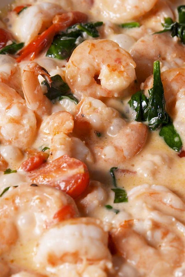 """<p>The insanely easy dinner that you NEED in your life.</p><p>Get the recipe from <a href=""""https://www.delish.com/cooking/recipe-ideas/recipes/a58607/tuscan-butter-shrimp-recipe/"""" rel=""""nofollow noopener"""" target=""""_blank"""" data-ylk=""""slk:Delish"""" class=""""link rapid-noclick-resp"""">Delish</a>. </p>"""