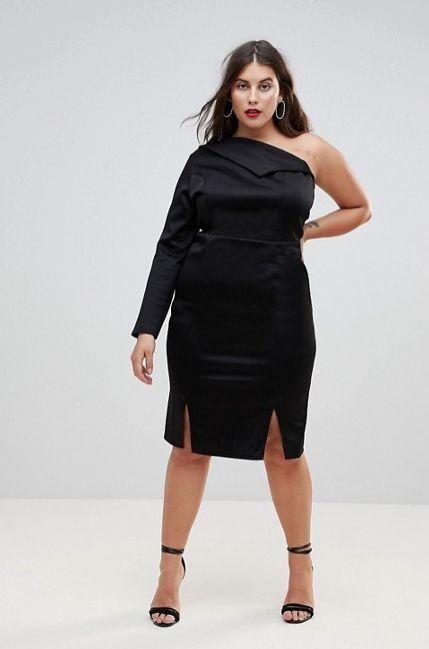 "From <a href=""http://us.asos.com/asos-curve/asos-curve-double-split-one-shoulder-midi-dress/prd/8838954?clr=black&SearchQuery=&cid=18761&pgesize=36&pge=0&totalstyles=87&gridsize=3&gridrow=3&gridcolumn=2"" target=""_blank"">ASOS</a>. Comes up to a size 24."
