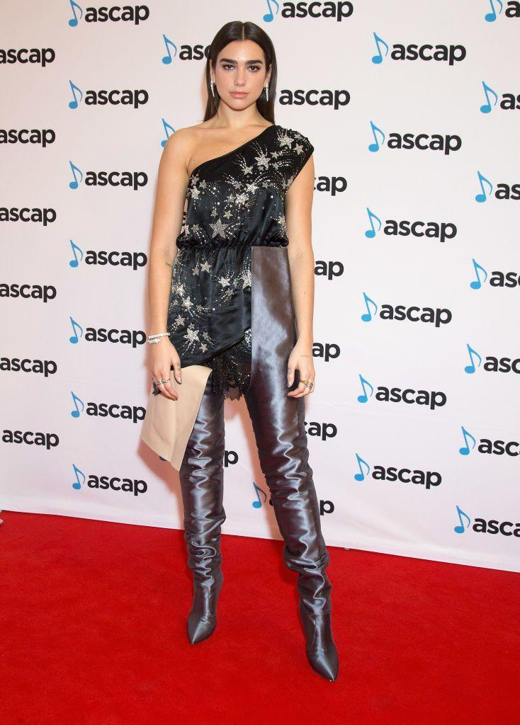 <p>Lipa wore an Attico dress with Balenciaga boots to the ASCAP Awards.</p>