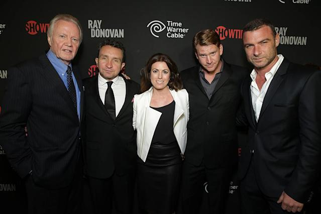 Jon Voight, Eddie Marsan, Time Warner Cable Vice President, Partnership Marketing Kristin J. Malaspina, Dash Mihok, and Liev Schreiber at the Showtime premiere of the new drama series Ray Donovan presented by Time Warner Cable, on Tuesday, June, 25, 2013 in Los Angeles. (Photo by Eric Charbonneau/Invision for Showtime/AP Images)