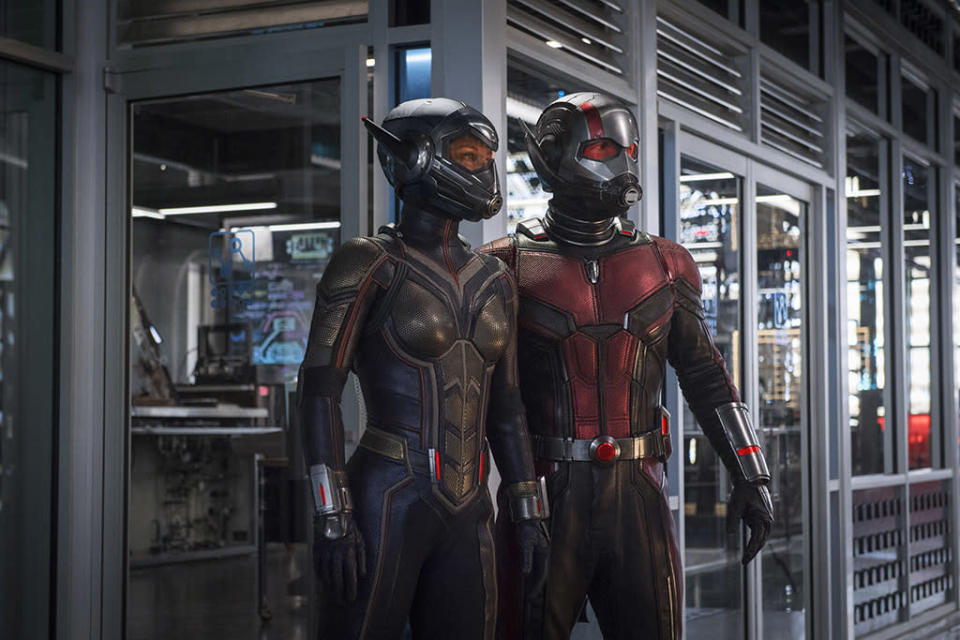 """<p>Set before, but released after, <em>Avengers: Infinity War</em>, the second solo adventure for these pint-size heroes (Paul Rudd and Evangeline Lilly) will also introduce former Catwoman Michelle Pfeiffer into the Marvel Cinematic Universe. While returning director Peyton Reed <a rel=""""nofollow noopener"""" href=""""https://www.empireonline.com/"""" target=""""_blank"""" data-ylk=""""slk:insists the film isn't a rom-com"""" class=""""link rapid-noclick-resp"""">insists the film isn't a rom-com</a>, we're still expecting to see some (tiny) sparks fly between this odd couple. 