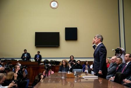Joseph Maguire, acting director of national intelligence, is sworn in as he testifies during a House Permanent Select Committee on Intelligence, on Capitol Hill in Washington