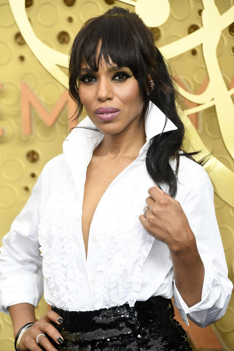<p>Paired with a sky-high pony, Kerry Washington's choppy and wispy bangs give off a glam-rock vibe.</p>