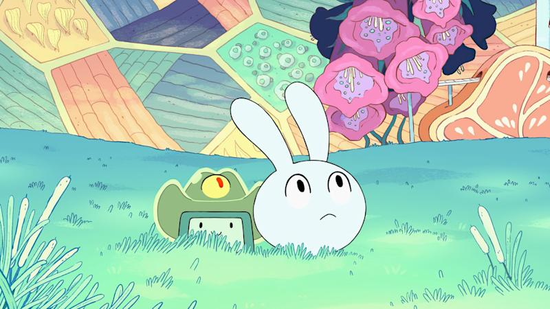 """BMO and new sidekick Y4 explore a space station pod in """"Adventure Time: Distant Lands"""" on HBO Max."""