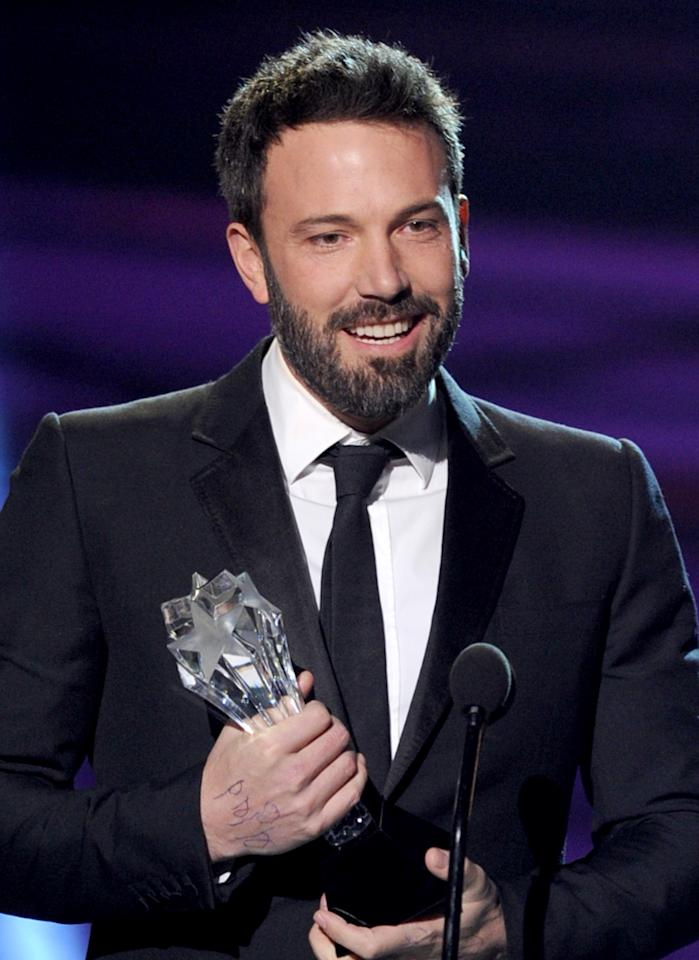 """SANTA MONICA, CA - JANUARY 10:  Director Ben Affleck accepts the Best Director Award for """"Argo"""" onstage at the 18th Annual Critics' Choice Movie Awards held at Barker Hangar on January 10, 2013 in Santa Monica, California.  (Photo by Kevin Winter/Getty Images)"""