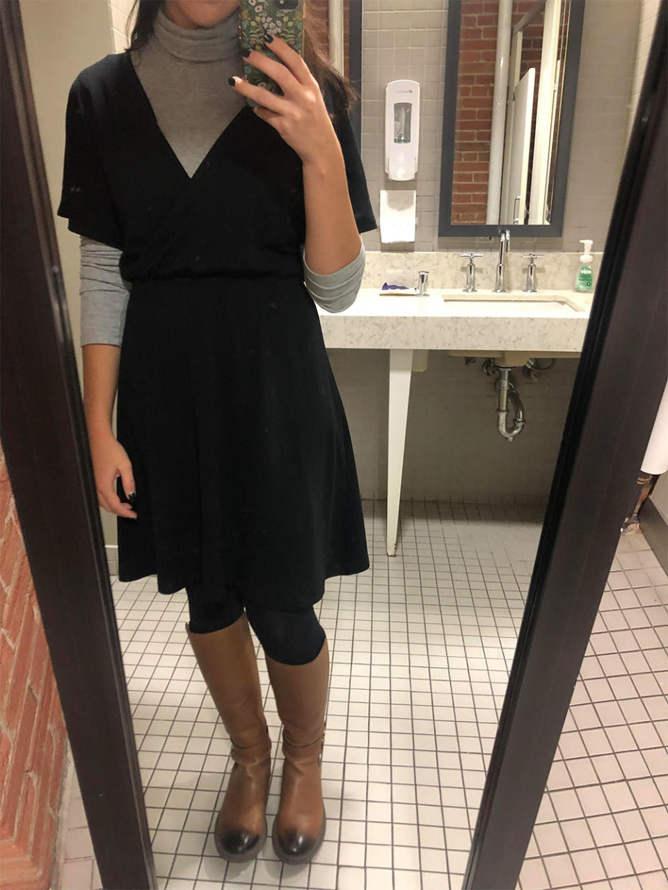 On day 5, instead of keeping warm with a cardigan or sweater, I layered a lightweight turtleneck underneath the dress.