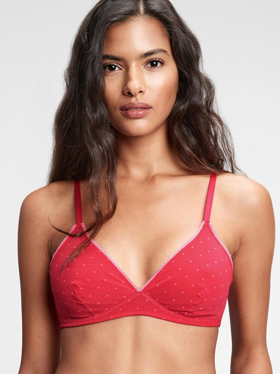 <p>This red-and-pink polka-dot <span>Gap Triangle Mesh Bralette</span> ($27, originally $30) is super cute and dainty.</p>
