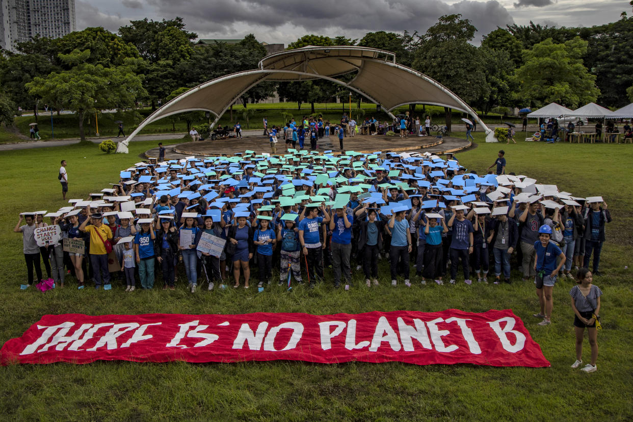QUEZON, PHILIPPINES - SEPTEMBER 20: Filipino students take part in the Global Climate Strike on September 20, 2019 in Quezon city, Metro Manila, Philippines. Students and adults joined together on Friday as part of a global mass day to demand action on climate change. (Photo by Ezra Acayan/Getty Images)