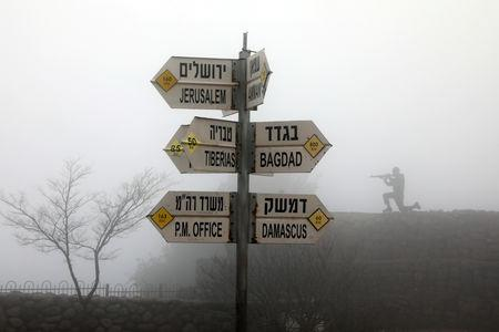 Signs pointing out distances to different cities is seen on Mount Bental, an observation post in the Israeli-occupied Golan Heights that overlooks the Syrian side of the Quneitra crossing March 25, 2019. REUTERS/Ammar Awad