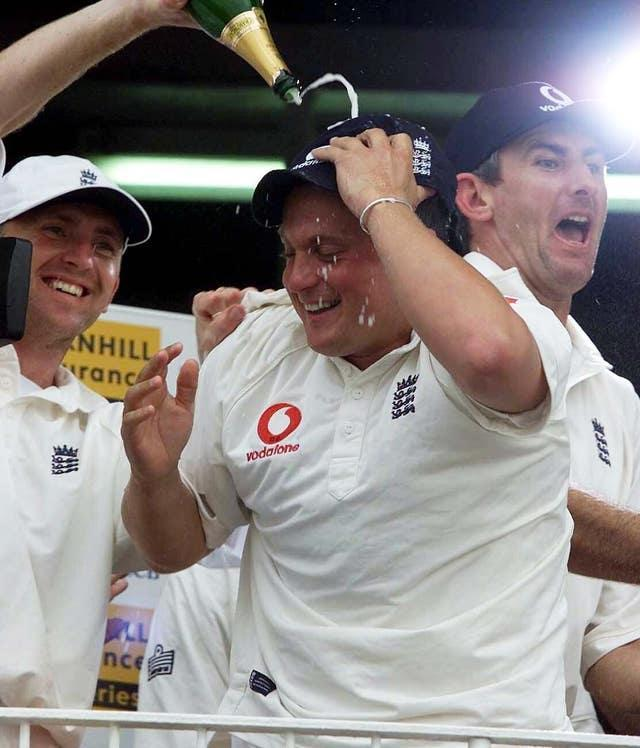 Darren Gough leads the celebrations after England's two-day win in Leeds.