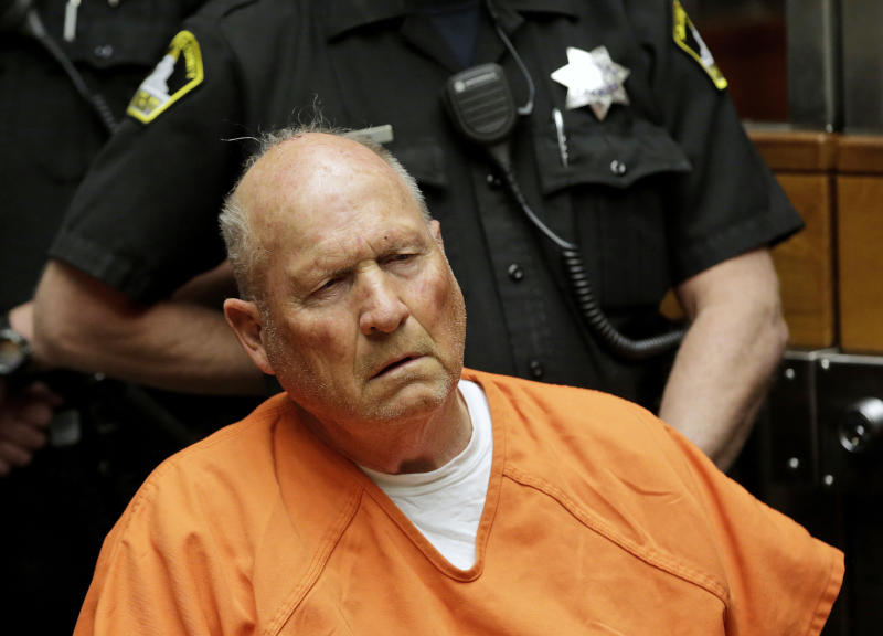 FILE - In this April 27, 2018, file photo Joseph James DeAngelo, the alleged Golden State Killer appears in Sacramento County Superior Court in Sacramento, Calif. DeAngelo's home was sold last month to a couple who intend to live there, The Sacramento Bee reports. (AP Photo/Rich Pedroncelli, File )