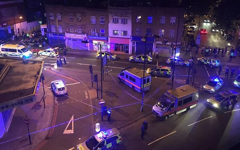 Emergency services at the scene close to Finsbury Park Mosque - Credit: Thomas Van Hulle/Twitter