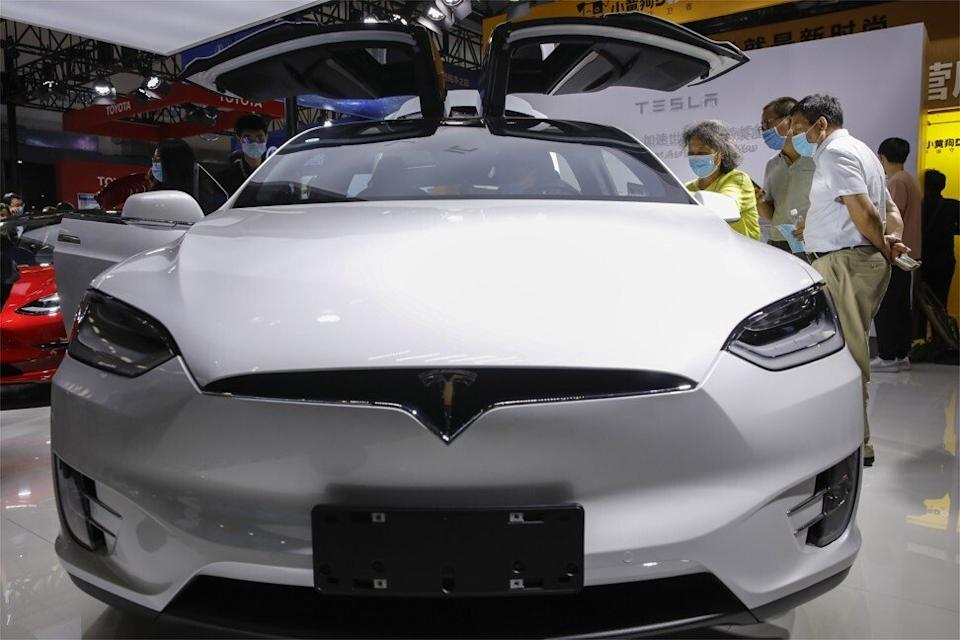An imported Tesla Model X, with its famous folding rear doors, at the 2020 China International Fair for Trade in Services in Beijing on September 5. Photo: EPA-EFE