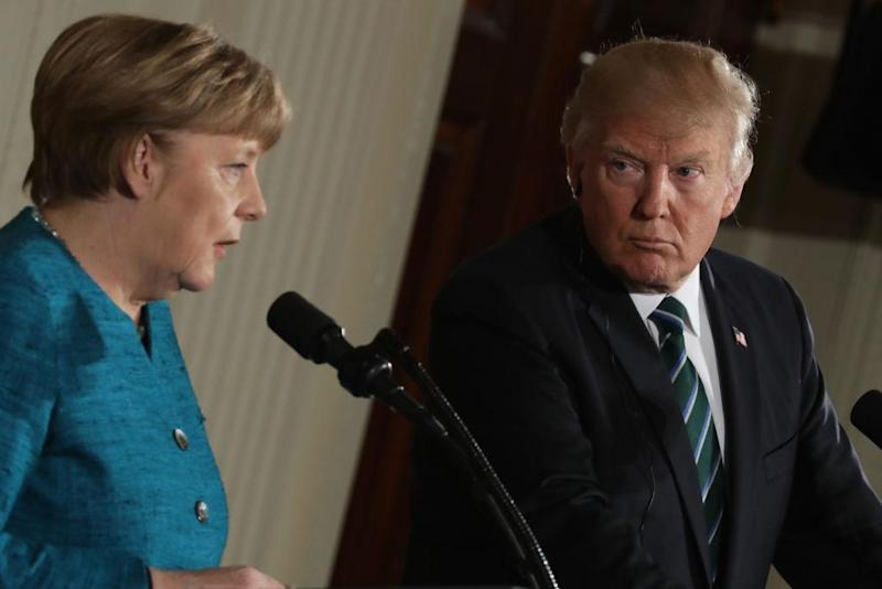 A US reporter told Ms Dunz to pose her question in German so Mr Trump could not interrupt Picture: (Chip Somodevilla/Getty Images)