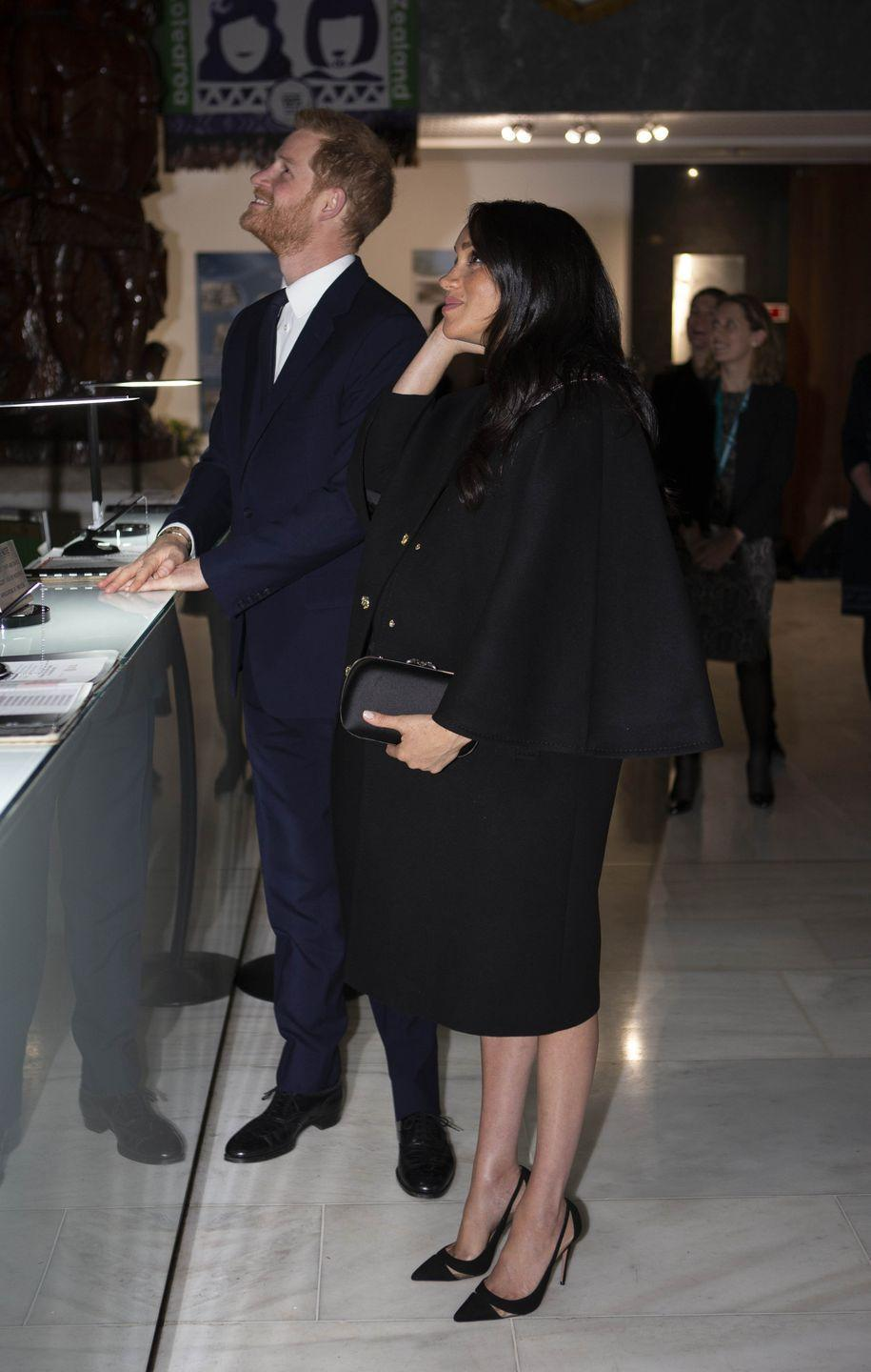 <p>Following the awful terror attack on mosques in New Zealand, Meghan Markle made her last appearance pre-Archie with husband Prince Harry. The pair visited London's New Zealand House to sign a book of condolence on behalf of The Royal Family, and although she was dressed in a black cape, just seven weeks before giving birth, Meghan looks very heavily pregnant.</p>