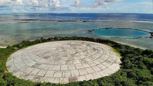 PHOTO: In this May 27, 2019, file photo, Runit Island, part of the Marshall Islands is shown. The U.S. Department of Energy has disclosed high levels of radiation in giant clams in a lagoon near the Runit Dome, where the U.S. entombed radioactive waste. (Carolyn Cole/Los Angeles Times via Polaris, FILE)