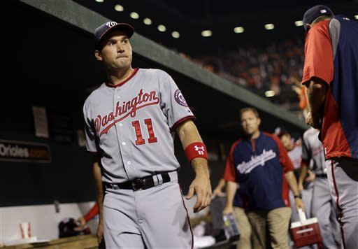Washington Nationals third baseman Ryan Zimmerman walks out of the dugout after the Nationals' interleague baseball game against the Baltimore Orioles, Wednesday, May 29, 2013, in Baltimore. Baltimore won 9-6. (AP Photo/Patrick Semansky)