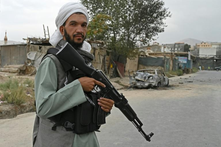 Taliban fighters are providing security in Kabul, as the Islamic State group seeks to attack US troops (AFP/WAKIL KOHSAR)