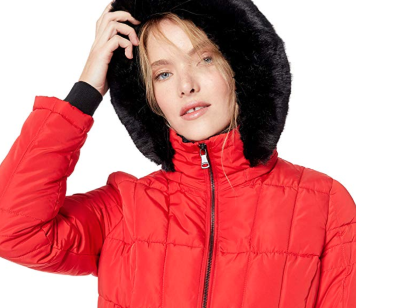 Brave the cold and look cute to boot with this Calvin Klein faux-fur number. (Photo: Amazon)