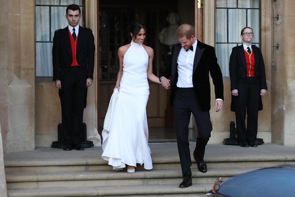 The Duchess of Sussex changed into a Stella McCartney dress for the couple's reception at Frogmore House on May 19 [Photo: Getty]