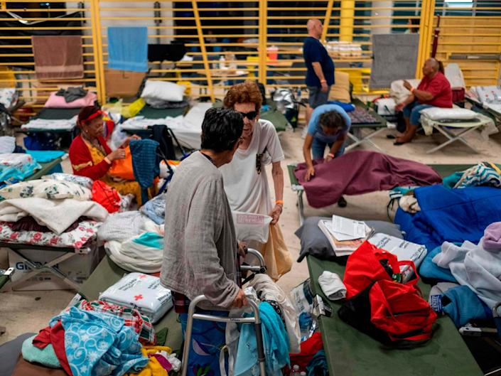 Residents take shelter in Ponce, Puerto Rico, after the powerful earthquakes in January: AFP via Getty Images