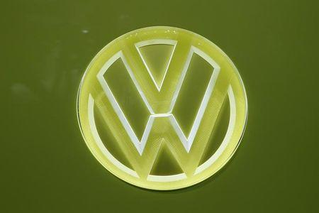 The Volkswagen logo is seen during the 87th International Motor Show at Palexpo in Geneva