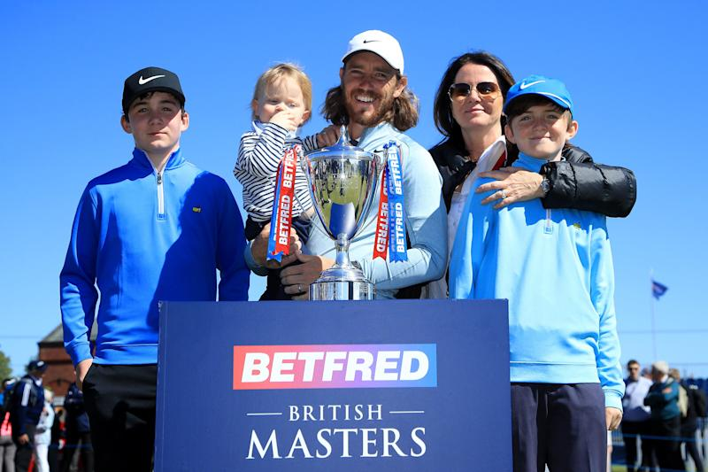 Fleetwood holds his son, Frankie, along side his wife Clare and her two other boys at the 2019 British Masters in May.