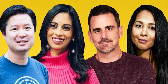 4 retail startup vc investors on a yellow background