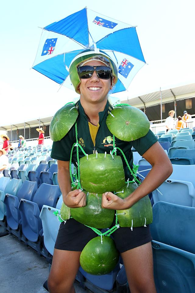 PERTH, AUSTRALIA - FEBRUARY 01: A spectator poses during game one of the Commonwealth Bank One Day International Series between Australia and the West Indies at WACA on February 1, 2013 in Perth, Australia.  (Photo by Will Russell/Getty Images)
