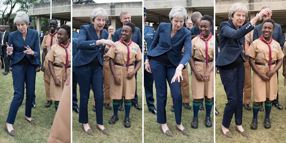 <em>Mrs May was filmed strutting her stuff again during her visit to Africa (Picture: PA)</em>