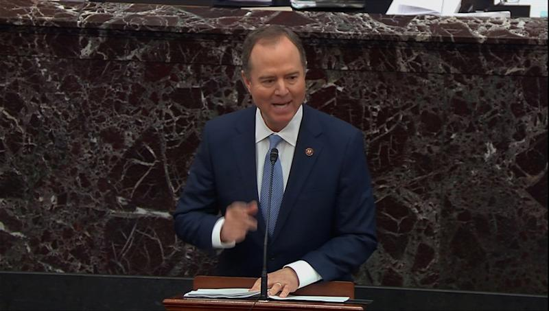 Lead manager House Intelligence Committee Chairman Adam Schiff (D-CA) speaks during opening debate at the start of the U.S. Senate impeachment trial of U.S. President Donald Trump in this frame grab from video shot in the U.S. Senate Chamber at the U.S. Capitol in Washington, U.S., January 21, 2020. REUTERS/U.S. Senate TV/Handout via Reuters