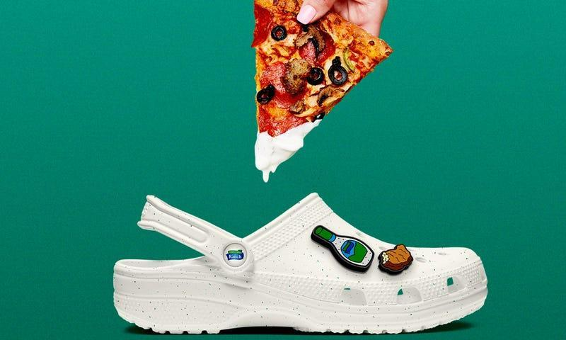 Graphic of pizza dripping ranch onto white Croc with ranch charms