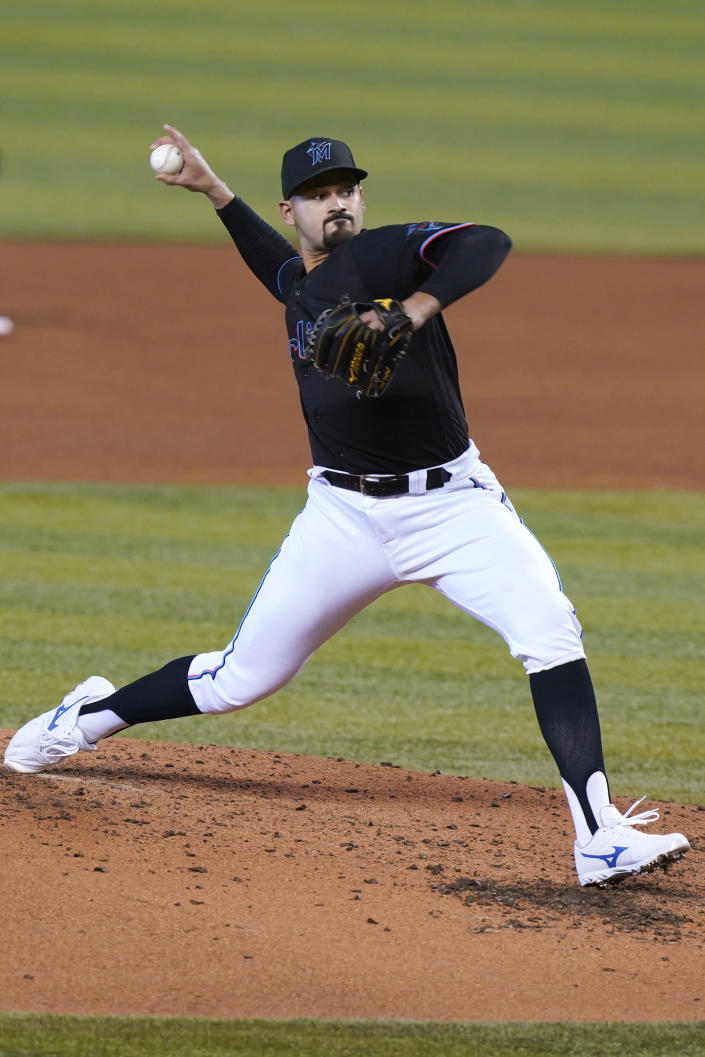 Miami Marlins starting pitcher Pablo Lopez throws during the third inning of the team's baseball game against the St. Louis Cardinals, Wednesday, April 7, 2021, in Miami. (AP Photo/Marta Lavandier)