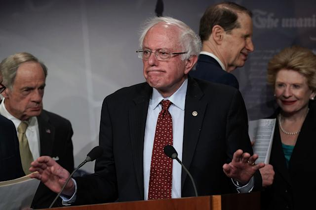 Sen. Bernie Sanders (I-Vt.) speaks at a March 7 news conference in which Senate Democrats introduced their $1 trillion infrastructure plan.