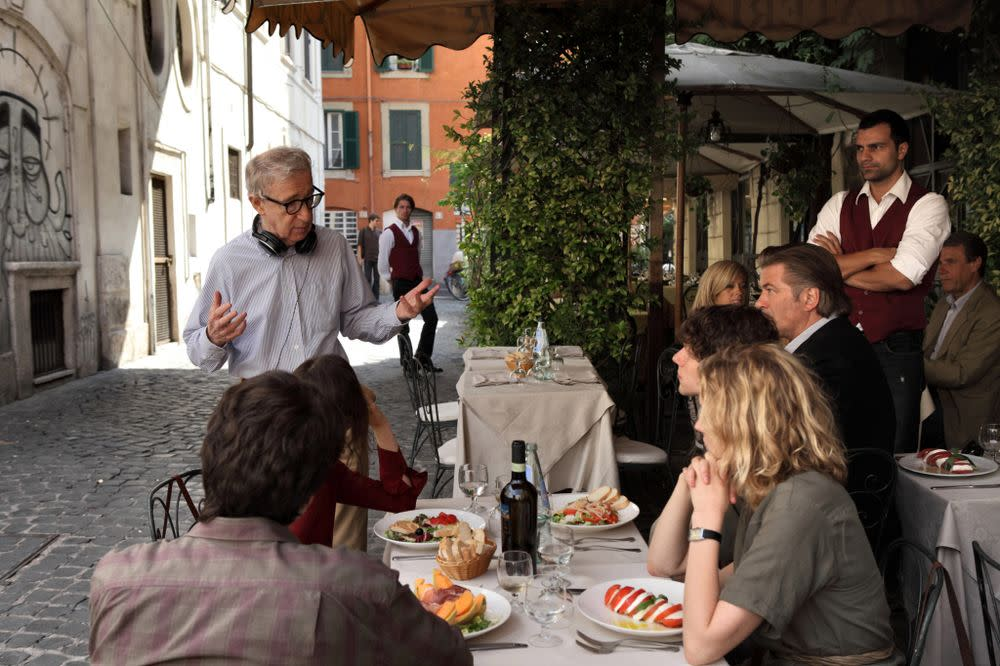 Woody Allen on the set of <em>To Rome With Love</em> with Alec Baldwin, Jesse Eisenberg and Greta Gerwig.
