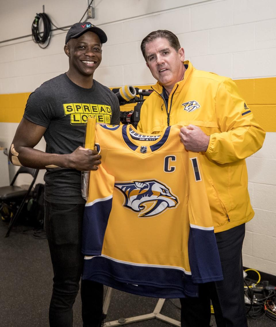 "The Nashville Predators honored James Shaw Jr. — who stopped the Waffle House Shooting last week — before their playoff game on Sunday. (Photo <a href=""https://twitter.com/PredsNHL/status/990710227464085504"" rel=""nofollow noopener"" target=""_blank"" data-ylk=""slk:via Twitter/@PredsNHL"" class=""link rapid-noclick-resp"">via Twitter/@PredsNHL</a>)"