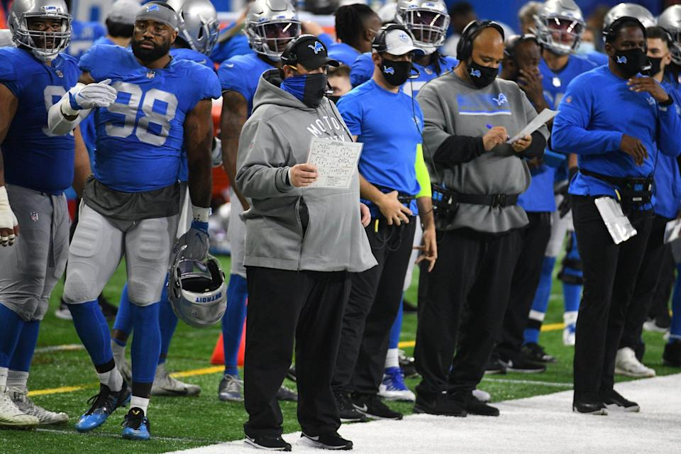 Lions coach Matt Patricia during the first half against the Houston Texans at Ford Field on Thursday, Nov. 26, 2020.