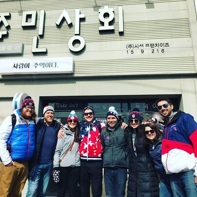 <p>hamscurl: And the #hamfam has arrived and ready to get rowdy! I can't express how amazing it feels to have such good friends who were willing to pay so much and take so much time off to cheer and he here for me while I compete! I love you friends (Photo via Instagram/hamscurl) </p>