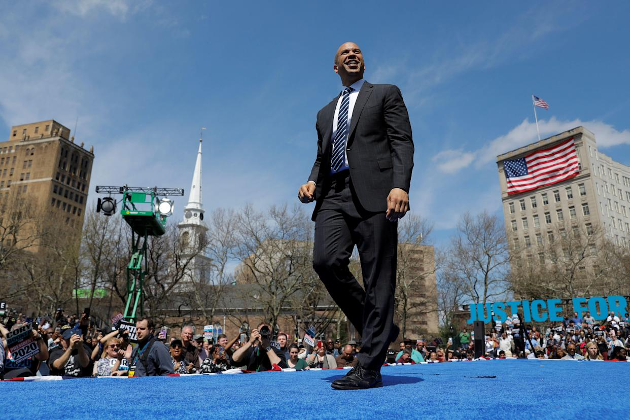 Sen. Cory Booker in Newark, N.J., for his campaign launch. (Photo: Andrew Kelly/Reuters)