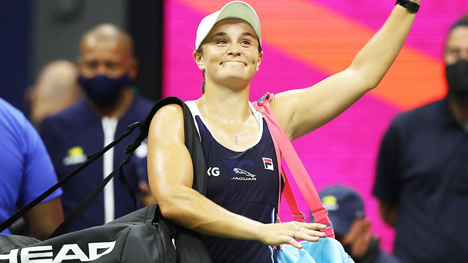 Ash Barty, pictured here after crashing out of the US Open.