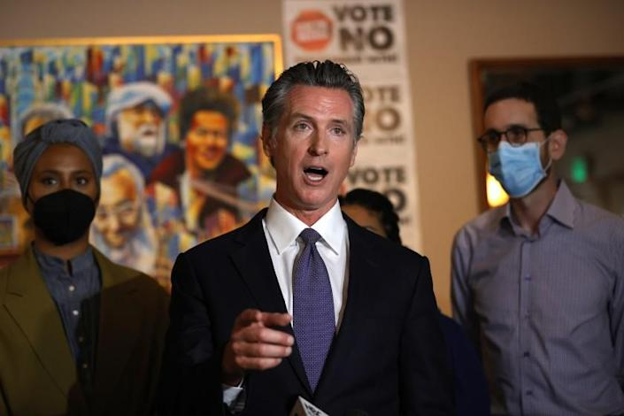 """SAN FRANCISCO, CALIFORNIA - AUGUST 13: California Gov. Gavin Newsom speaks during a news conference at Manny's on August 13, 2021 in San Francisco, California. California Gov. Gavin Newsom kicked off his """"Say No"""" to recall campaign as he prepares to face a recall election on September 14. (Photo by Justin Sullivan/Getty Images)"""