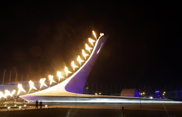 The Olympic Cauldron is lit during the opening ceremony of the 2014 Winter Olympics in Sochi, Russia, Friday, Feb. 7, 2014. (AP Photo/Darron Cummings)