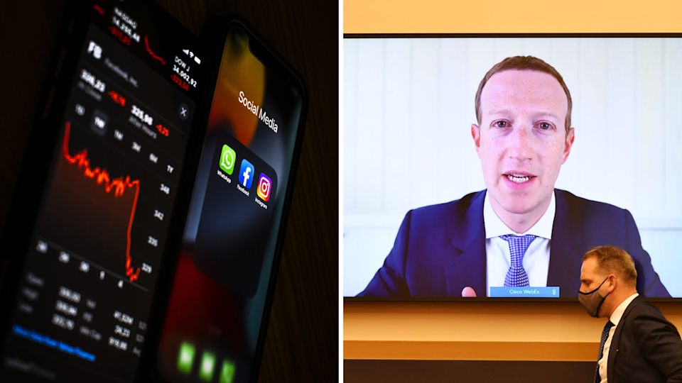 Facebook stocks crash as apps go offline and Mark Zuckerberg appearing before a Senate hearing in the US via video