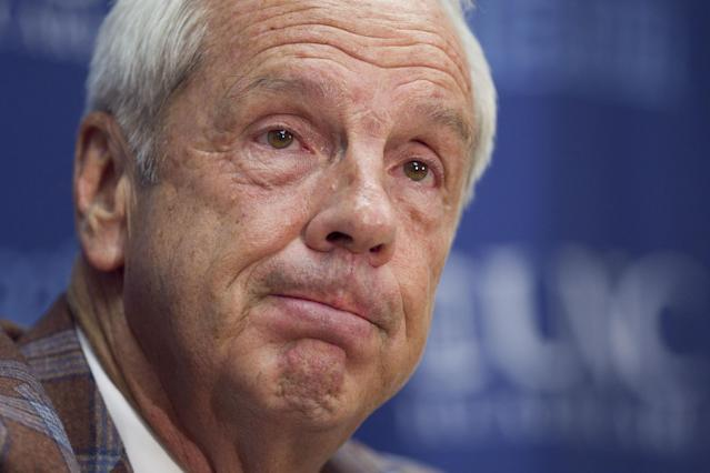 North Carolina basketball coach Roy Williams reacts to questions regarding the release of a report on academic fraud at the university, following the team's NCAA college basketball exhibition game against Fayetteville State on Friday, Oct. 24, 2014, Chapel Hill, N.C. (AP Photo/The News & Observer, Robert Willett)