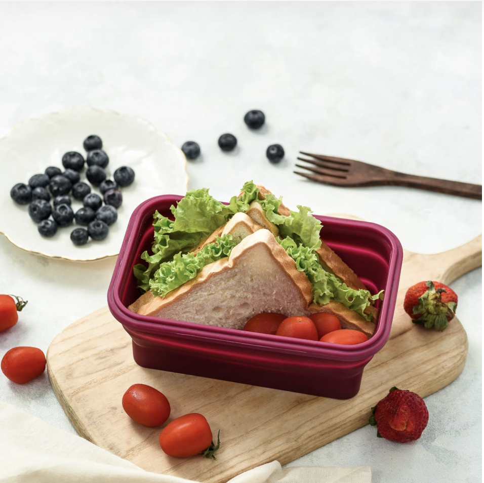 <br><br><br><br><em><br><br><br><em>The Lejos Silicone Collapsible Lunch Box makes packing and carrying lunches and snacks on-the-go easy and convenient. It can also double up as a food container for food storage in the fridge.</em></em>