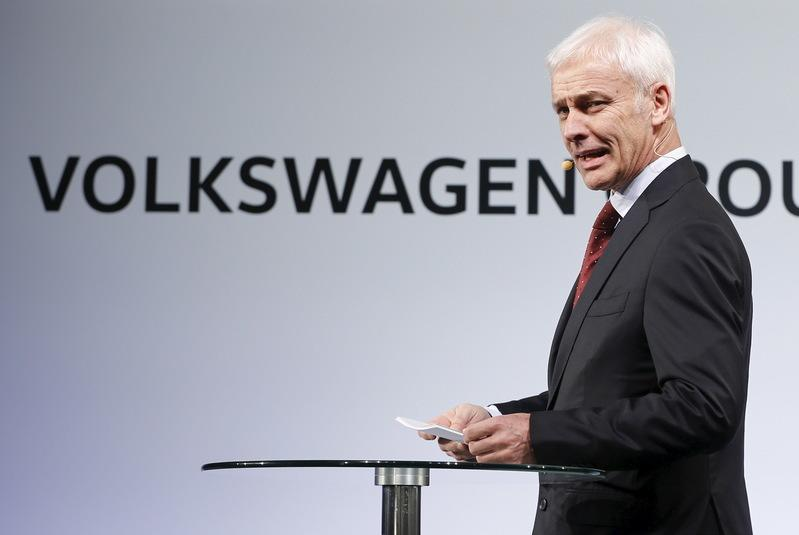 Volkswagen CEO Mueller speaks at their media reception during the North American International Auto Show in Detroit