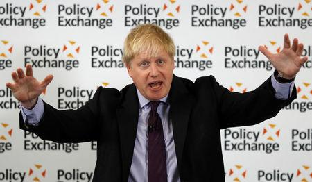 Britain's Foreign Secretary Boris Johnson delivers a speech on Brexit at the Polixy Exchange in central London
