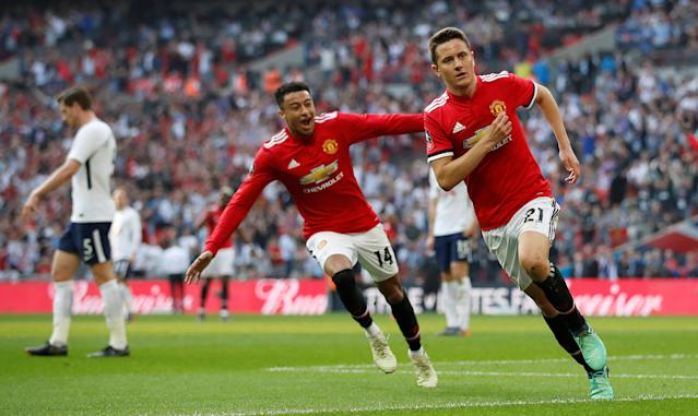 Jesse Lingard and Ander Herrera celebrate Herrera's winner in Manchester United's 2-1 FA Cup semifinal victory over Tottenham. (Reuters)