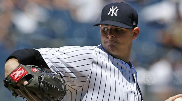 """<p>As the saying goes, it's best to always keep your head on a swivel. Still, I'm not sure keeping your head on said swivel would do you any good if a line drive is coming at your noggin.</p><p>Jordan Montgomery, who is scheduled to start for the Yankees on Sunday, was hit in the head by a line drive <a href=""""https://twitter.com/M_Marakovits/status/896450016004497408"""" rel=""""nofollow noopener"""" target=""""_blank"""" data-ylk=""""slk:while signing autographs"""" class=""""link rapid-noclick-resp"""">while signing autographs</a> during the Red Sox's batting practice on Saturday.</p><p>It appears Montgomery <a href=""""https://twitter.com/BryanHoch/status/896464899022475264"""" rel=""""nofollow noopener"""" target=""""_blank"""" data-ylk=""""slk:dodged serious injury"""" class=""""link rapid-noclick-resp"""">dodged serious injury</a>, as he's in uniform and still scheduled to pitch on Sunday.</p><p>It has otherwise been a brutal week for the Yankees' starting rotation. CC Sabathia was placed on the 10-day disabled list due to a right knee injury on Friday and Masahiro Tanaka was placed on the same list Saturday for right elbow inflammation. Montgomery came back up to the big club just to replace Sabathia in the rotation.</p><p>Montgomery, a 24-year-old rookie lefthander, is 7-6 on the year with a 4.05 ERA and 1.24 WHIP. </p>"""